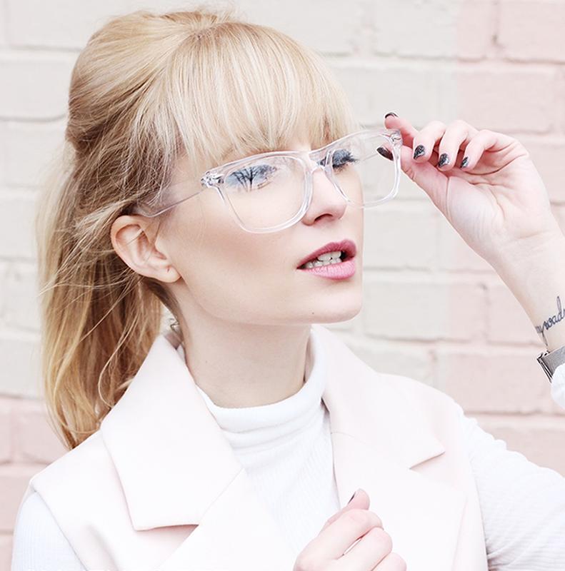 Super Clear Transparent Crystal Frame Horned Rim Glasses - ZeroUV ...