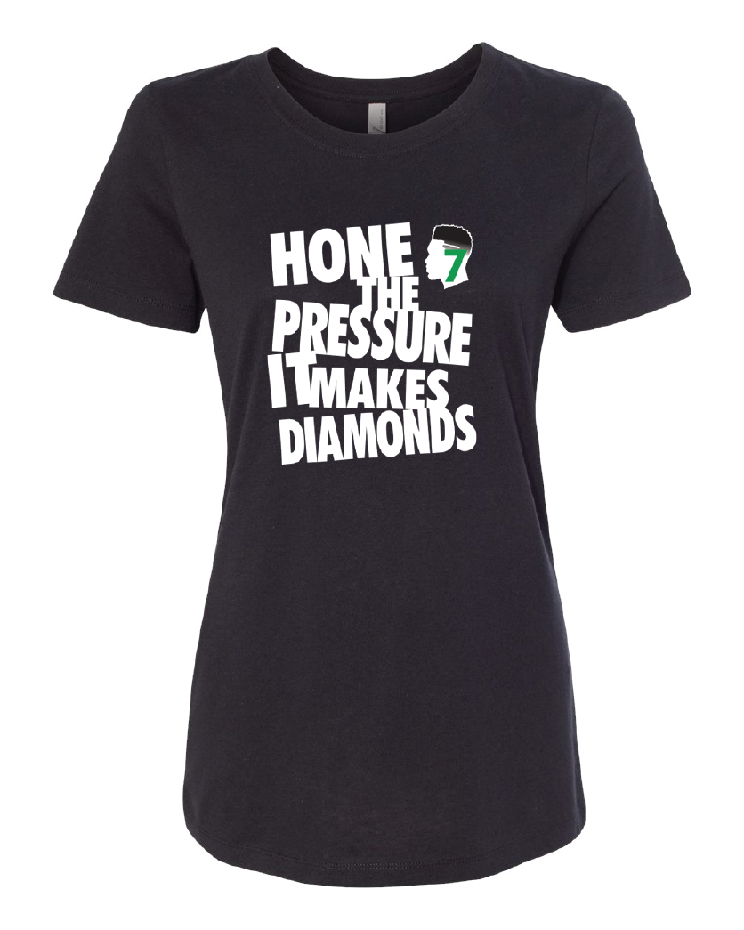 Womens hone the pressure tee black