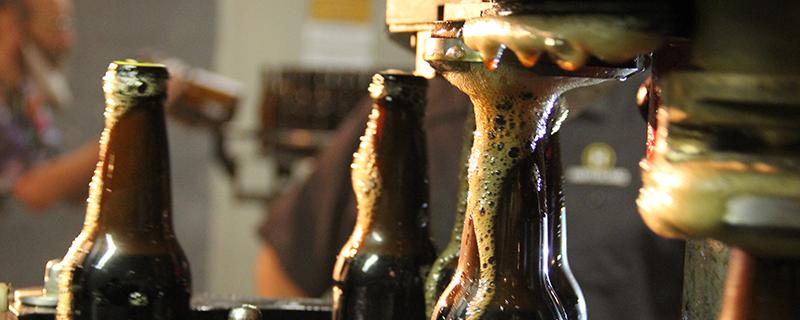 Beer bottles being filled