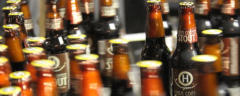 Beers on conveyor belt