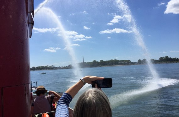 Water cannon at hart island tour