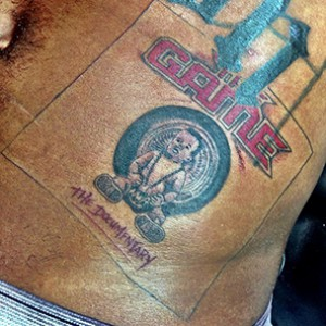 "Game Gets Tattoos Of Dr. Dre's ""The Chronic"" Album & ""The Documentary"" DVD Covers"