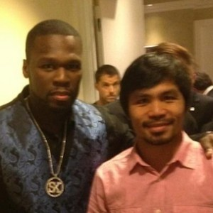 50 Cent Taunts Floyd Mayweather With Manny Pacquiao Photograph