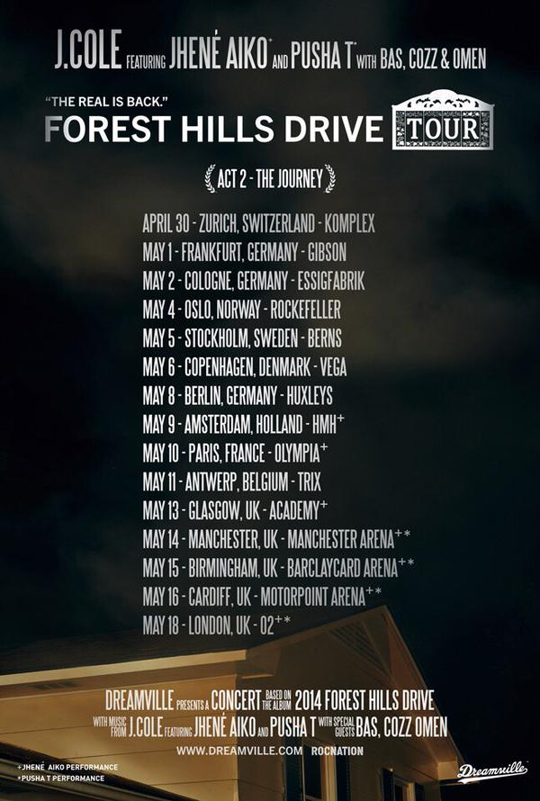 J Cole Tour Dates  Europe