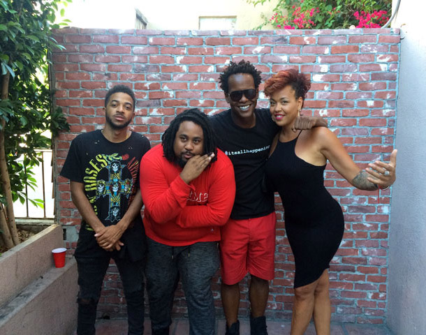 Ta'East, D Dot Omen, HipHopDX Editor-In-Chief Justin Hunte, and singer Maya Azucena having a great time...