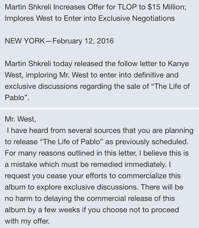 2016 021216 Martin Shkreli Letter To Kanye1