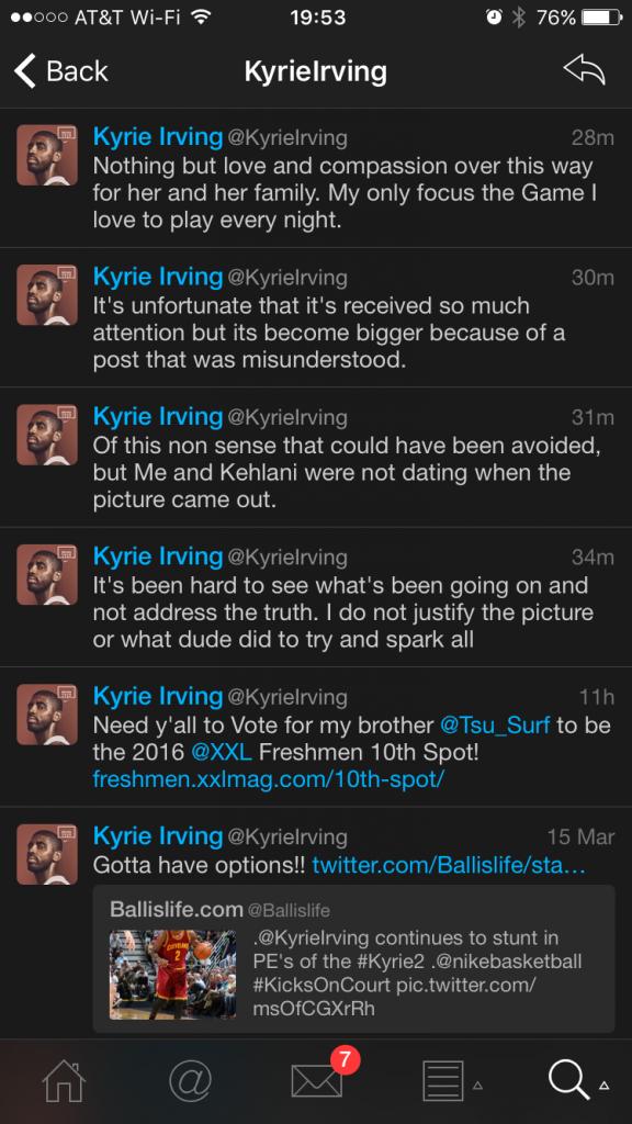 kyrie irving kehlani twitter