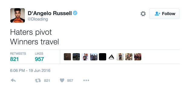 dangelo russel iggy azalea nick young tweet