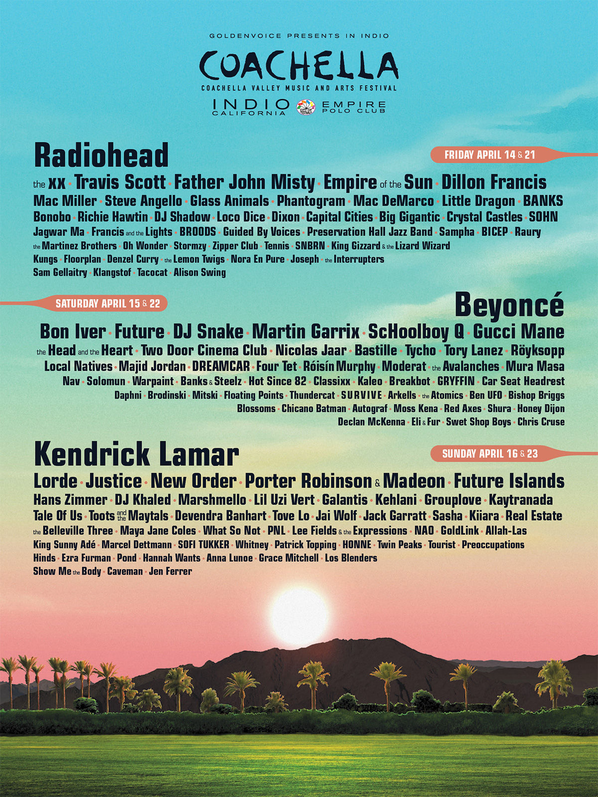 Coachella lineup 2017 flyer