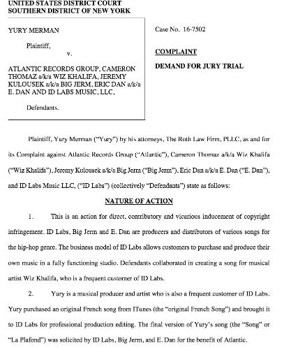 Wiz Khalifa lawsuit