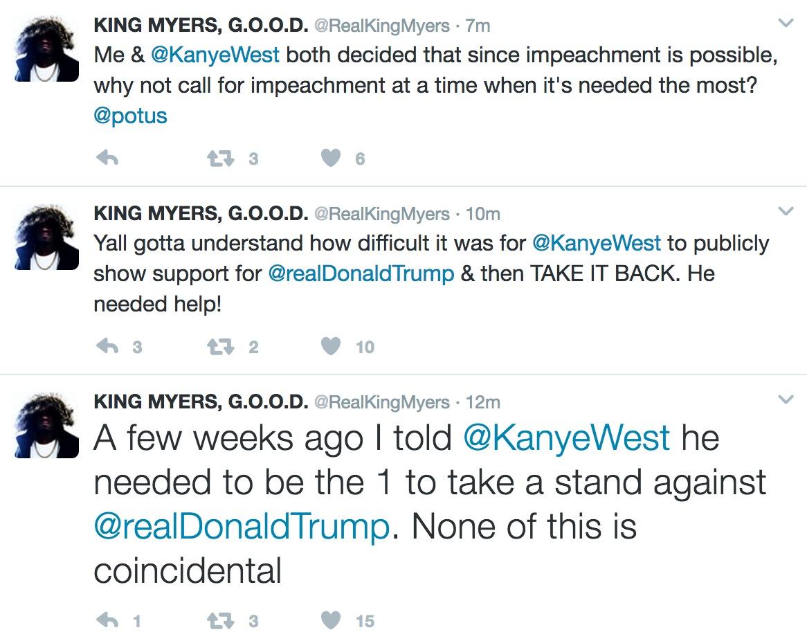 king myers kanye west tweets fraud