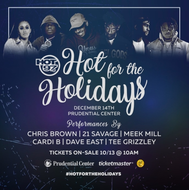 Cardi B, Chris Brown & Meek Mill Headline Hot 97's Hot For The Holidays