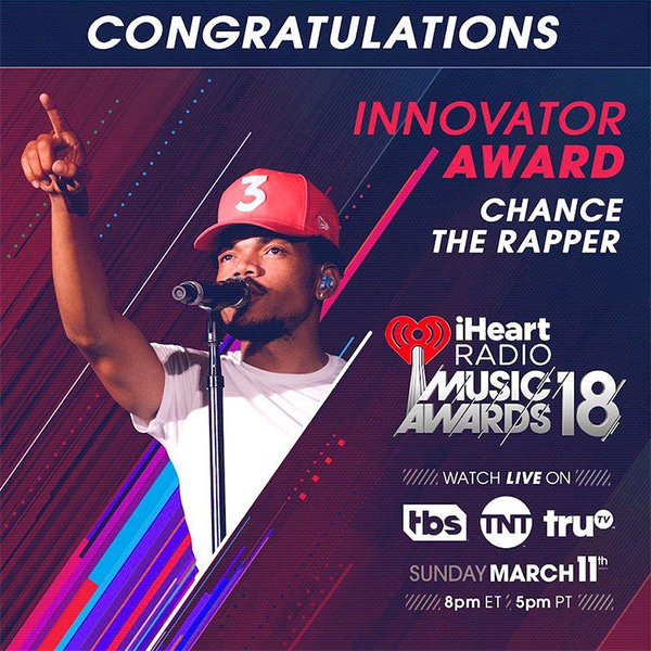 Chance The Rapper To Be Honored At 2018 iHeartRadio Music Awards