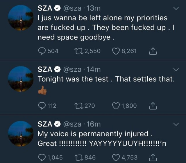 "SZA Says Her Voice Is ""Permanently Injured"""