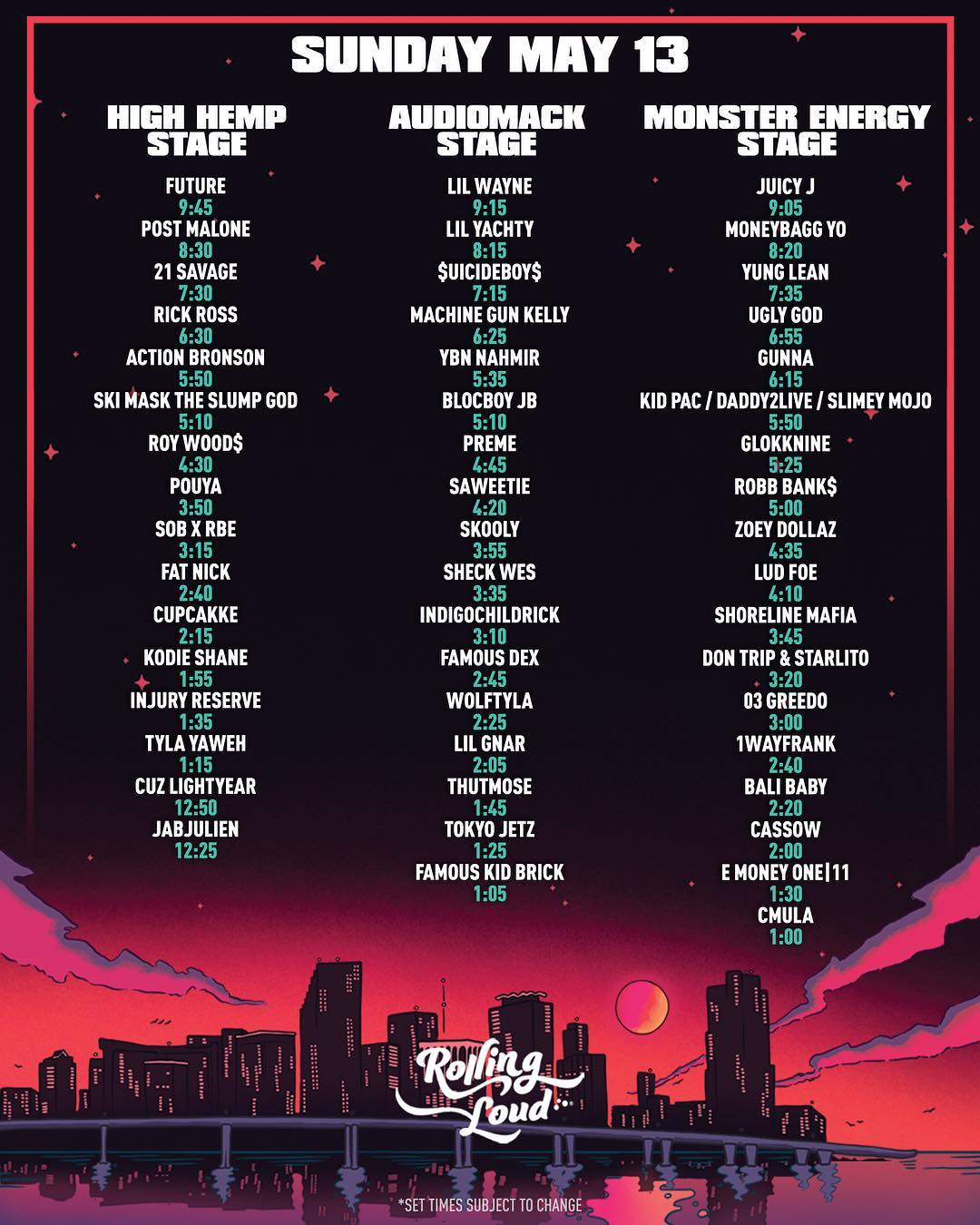 rolling loud 2018 day 3 lineup