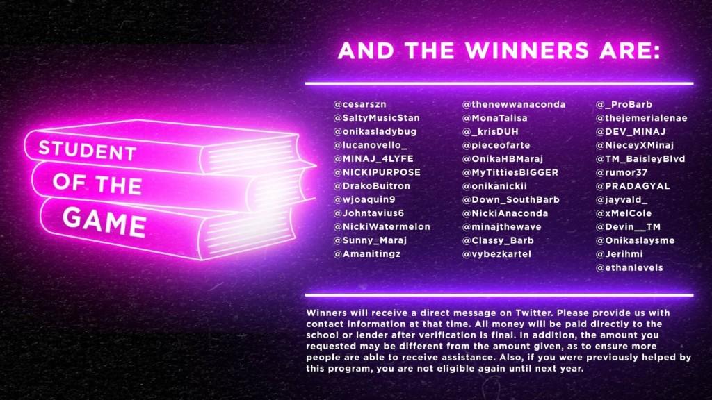 "Nicki Minaj Announces ""Student Of The Game"" Scholarship Winners"