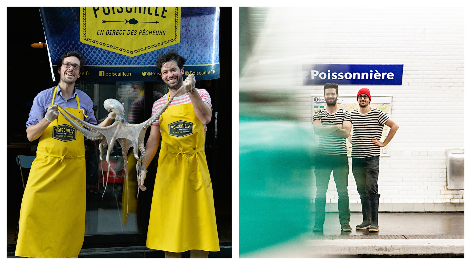 The founders of Poiscaille ethical seafood startup in France with an octopus (left). The Poiscaille Paris ethical fish startup at Poissonnière metro station in Paris, wearing matching stripy mariner t-shirts (right).