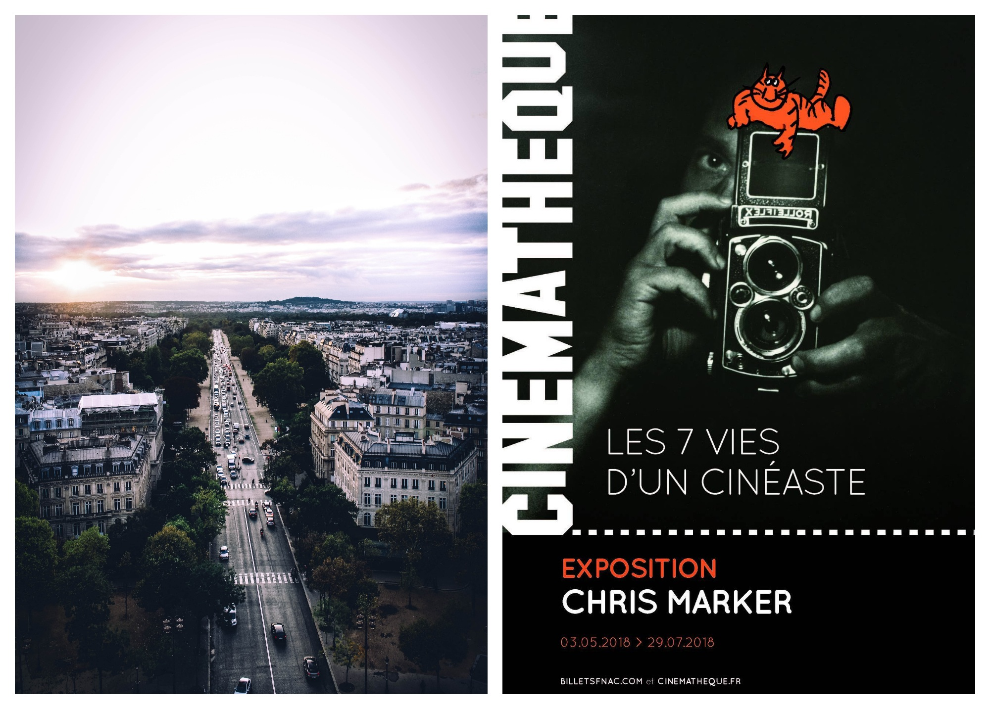 One of Paris' boulevards at sunset in May (left) and a poster for a film exhibition event (right).