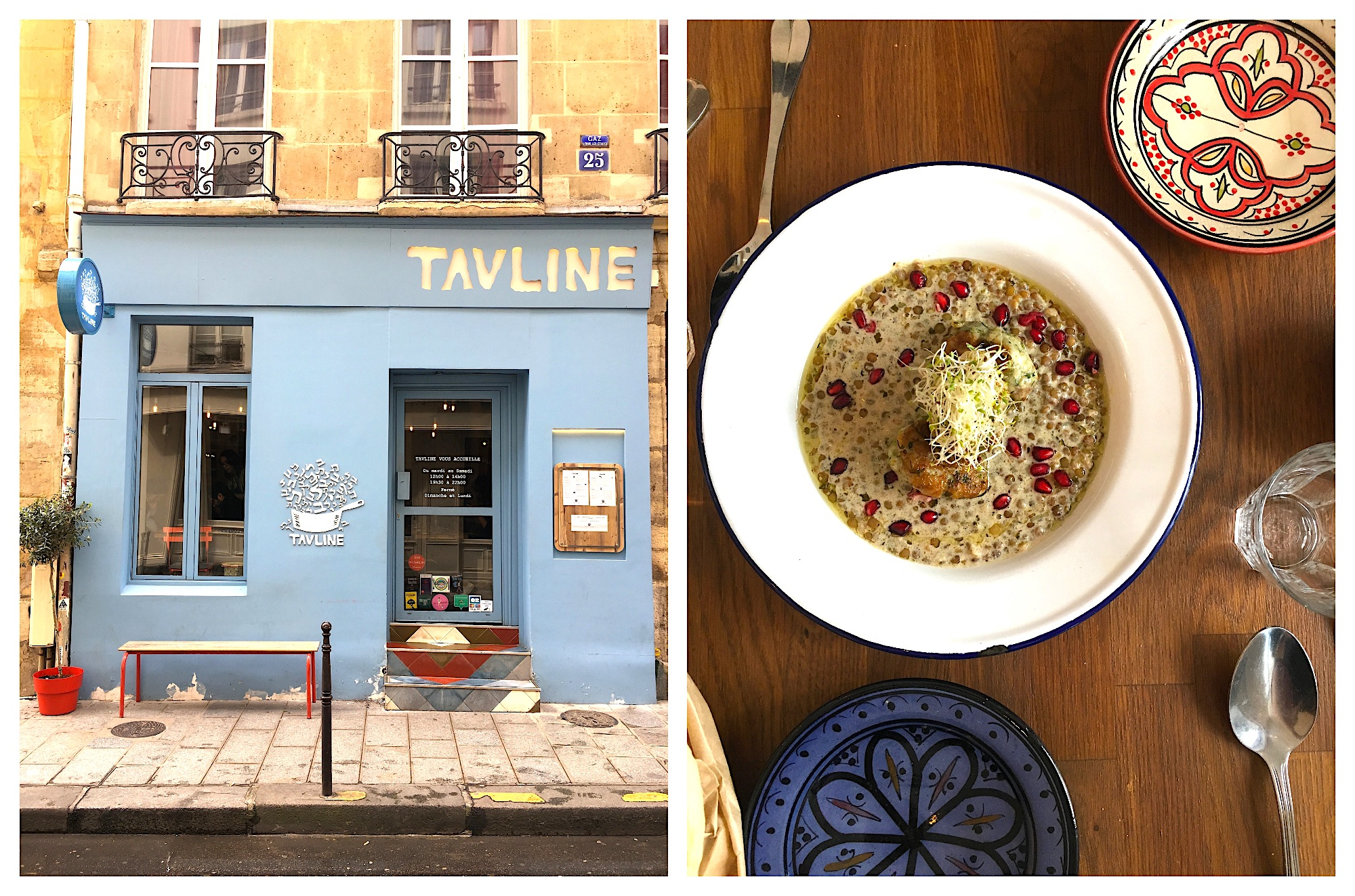 Some of the best Tel Aviv food in Paris' Marais neighborhood is served at Tavline, with its powder-blue facade (left). Its dishes are fresh and homemade (right).