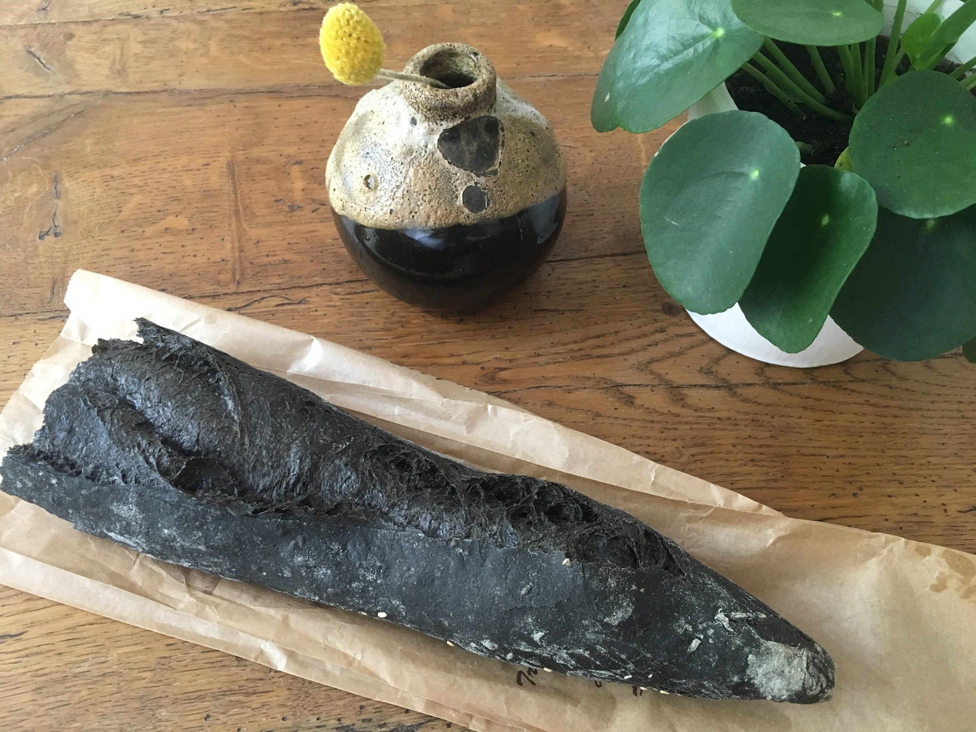 Black bread at Paris bakeries is trending, including black baguette.