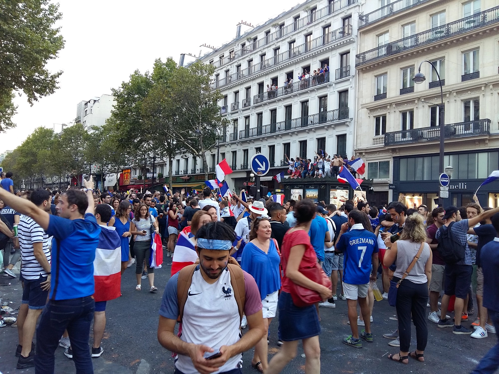 Football World Cup 2018, when the French team won, everyone ran to the streets, with French flags to celebrate.