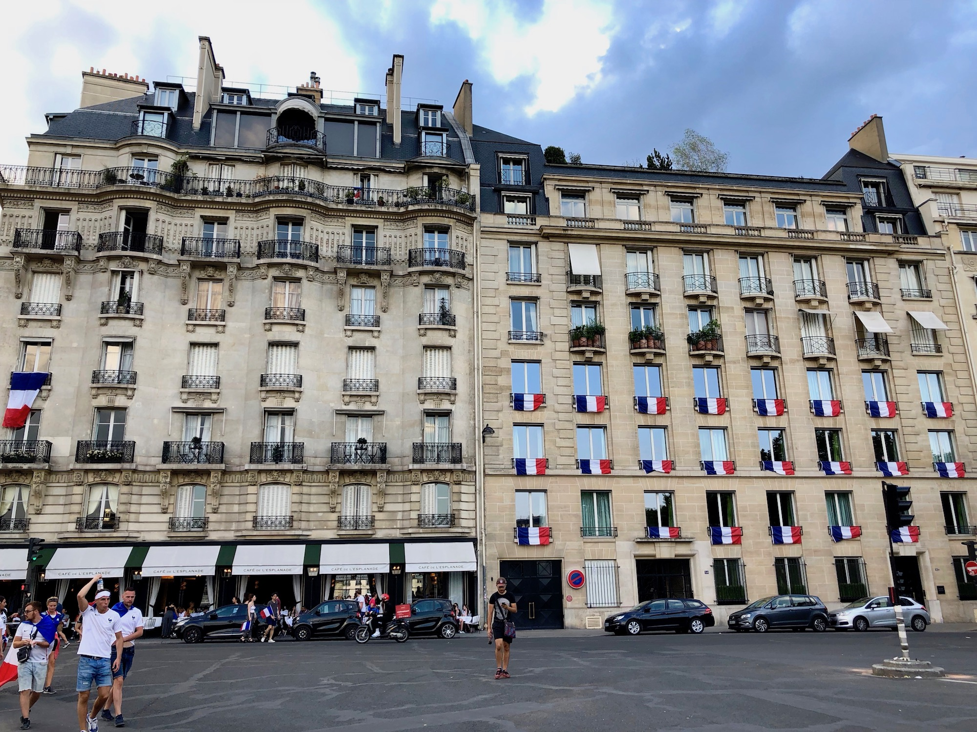 When France won the football world cup in 2018, French flags were flown everywhere, even from windows of buildings all over Paris.