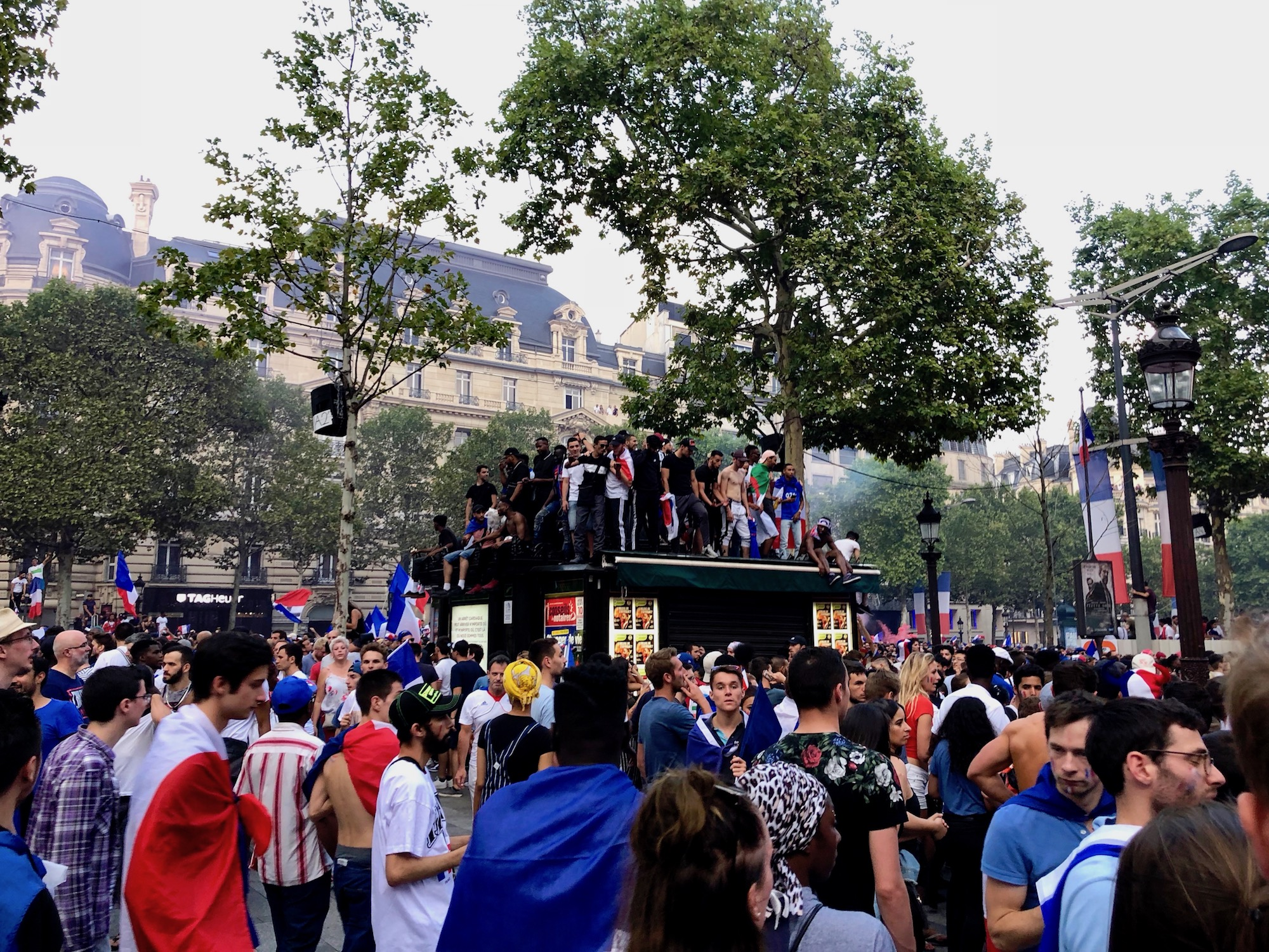 Crowds gathered all over Paris with French flags, to celebrate France winning the football world cup 2018.