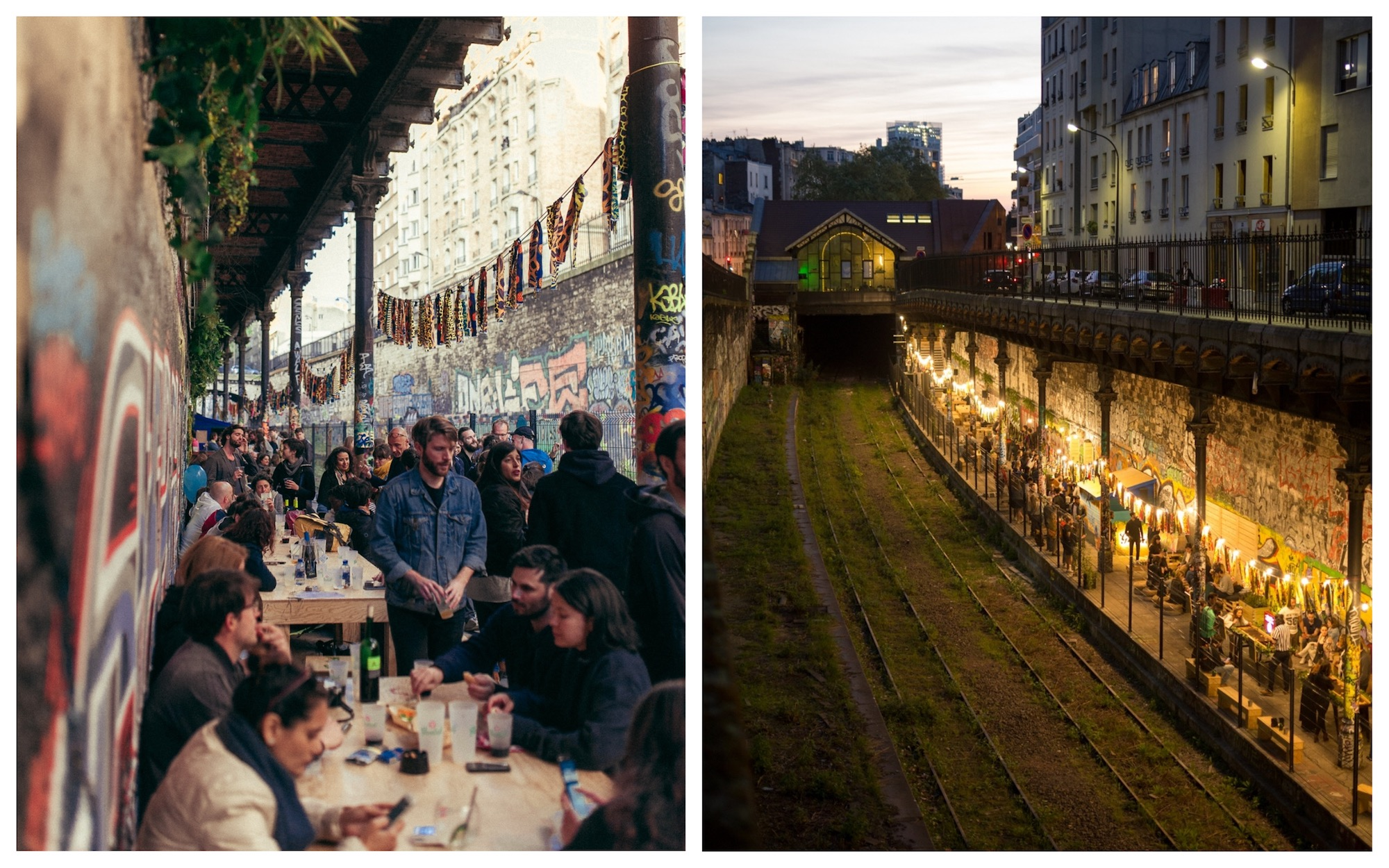 People having drinks on the terrace of Paris bar le Hasard Ludique, on the old platform of an abandoned train station (left). View from the street of the terrace lit up at night down by the disused railway (right).