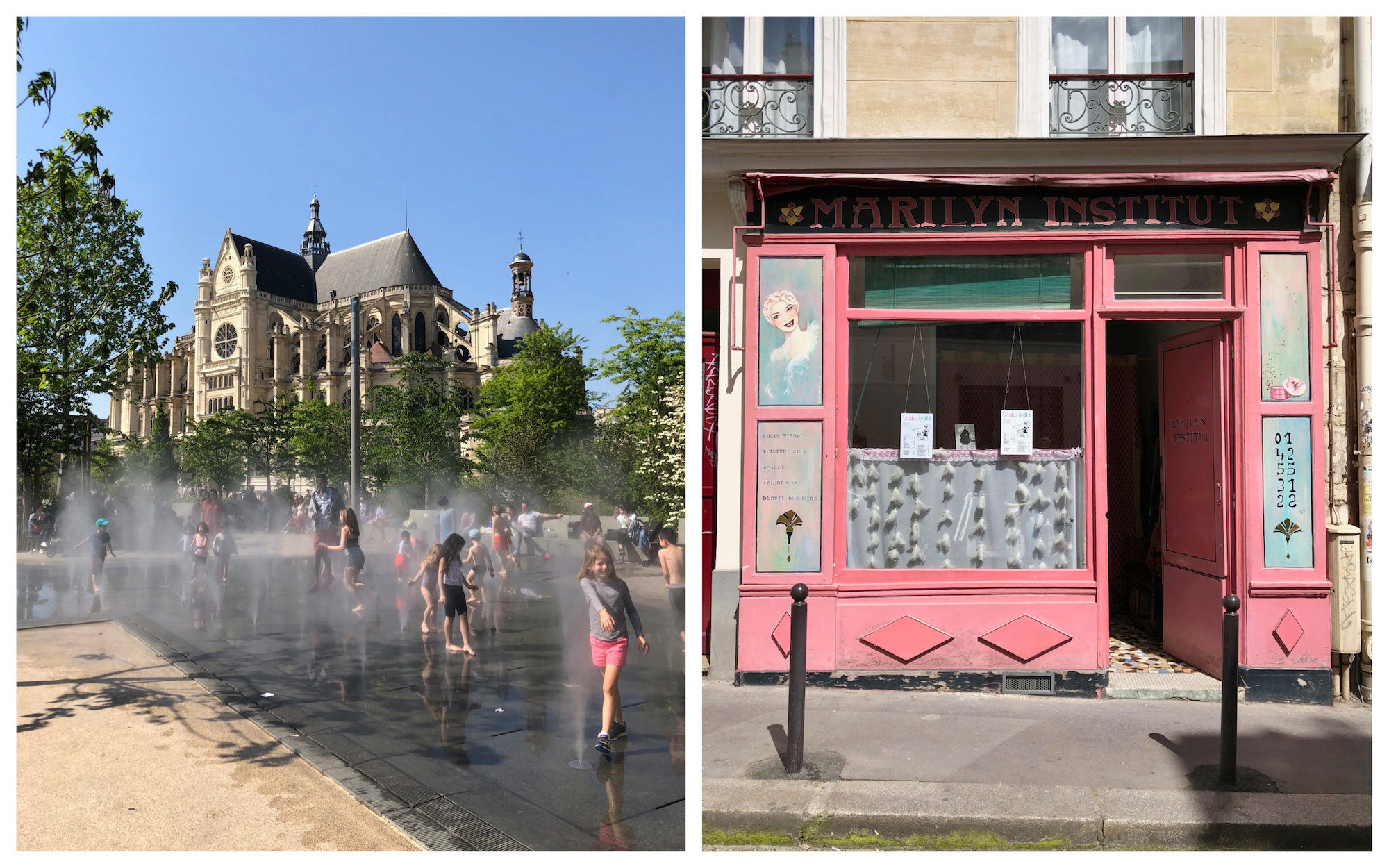 Kids playing in the fountains in summer in Paris (left). An old prink shop front in Paris (right).