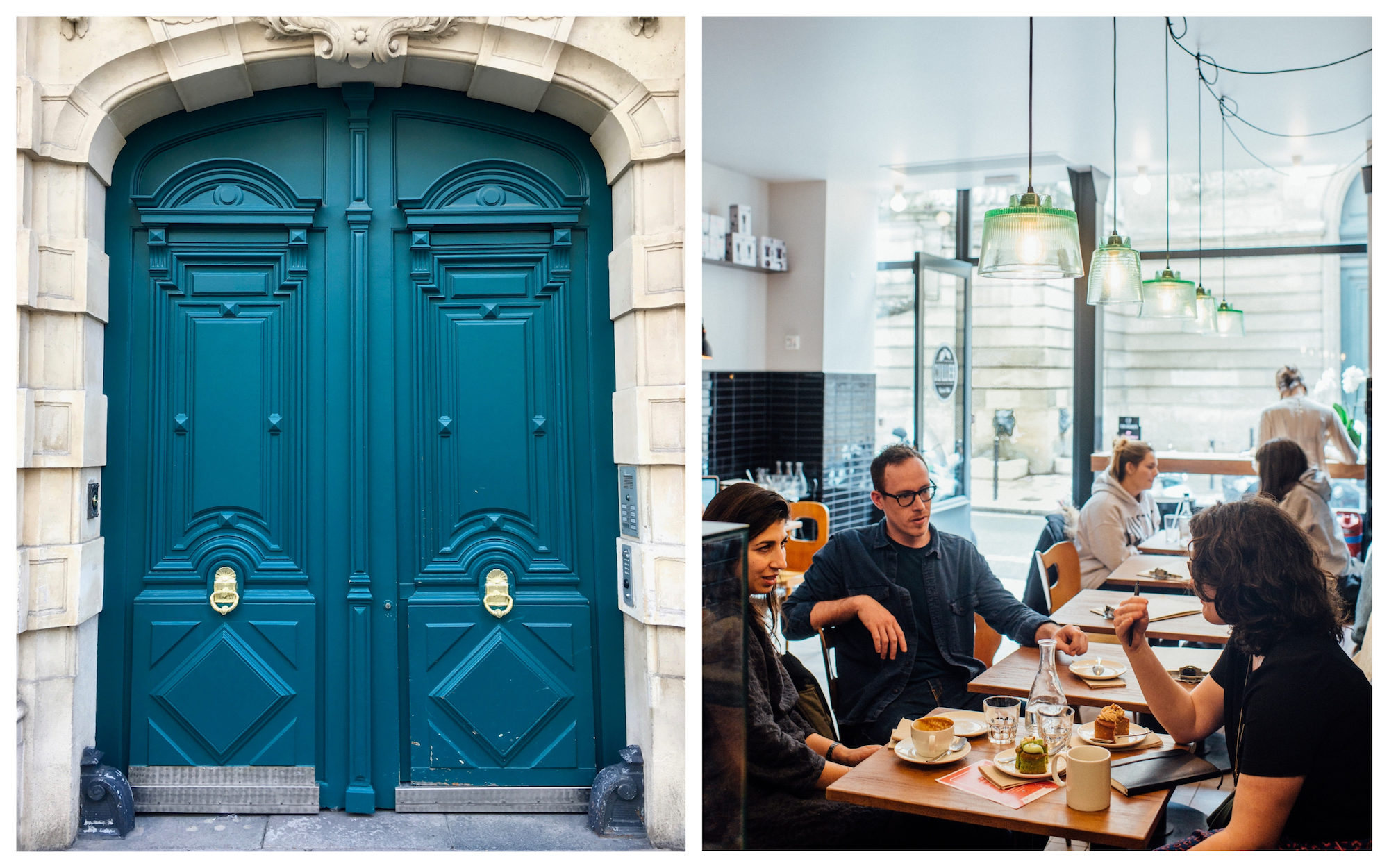 Beautiful Paris doors are a reason in themselves to come back to explore the city a second time (left) as are its new restaurants (right).