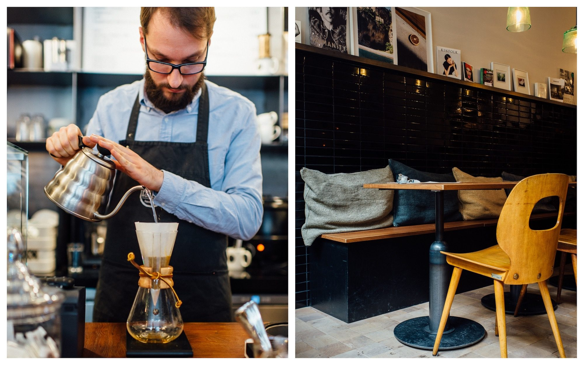 A barista wearing an apron and glasses, making coffee at a Paris coffee shop (left). Inside a cozy coffee shop with bistro table and Scandinavian style chairs (right).