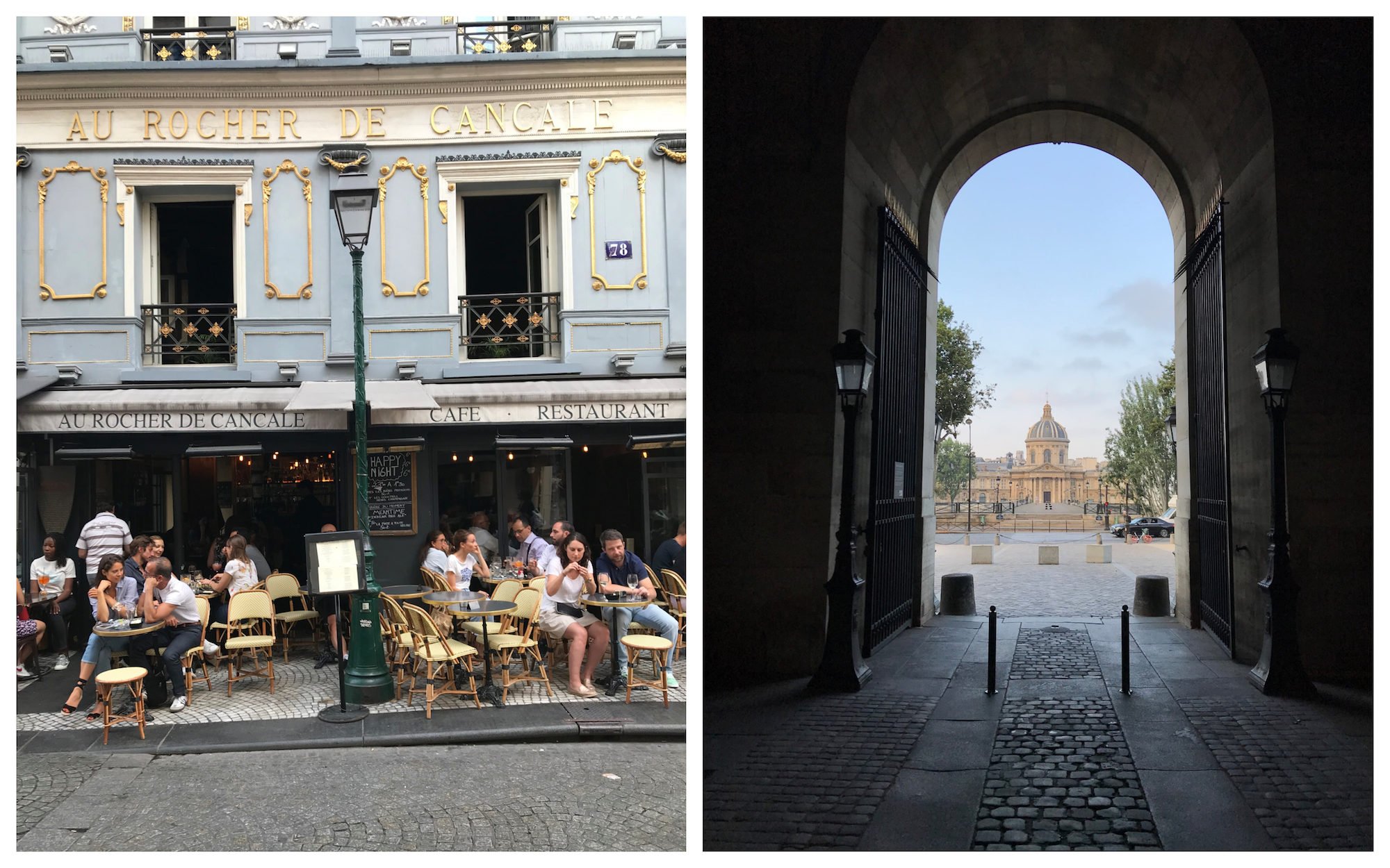 A HiP Paris go-to restaurant on rue Montorgueil is Au Rocher de Cancale for its old world interior and sunny terrace (left). We also can't get enough of the Paris' hidden architecture (right).