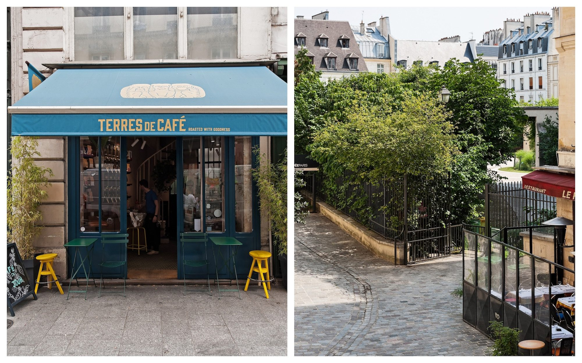 Paris is full of craft coffee shops like Terres de Café (left) and leafy hidden squares to explore on your next visit (right).