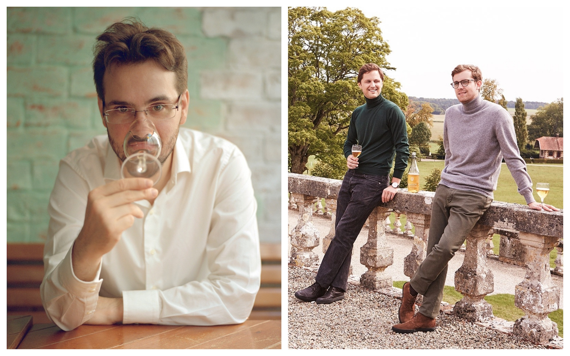 One of the best podcasts in Paris about cocktails is Paris Cocktail Talk by Forest Collins, pictured on the left holding a glass to his mouth, and on the right on a wine estate in France.