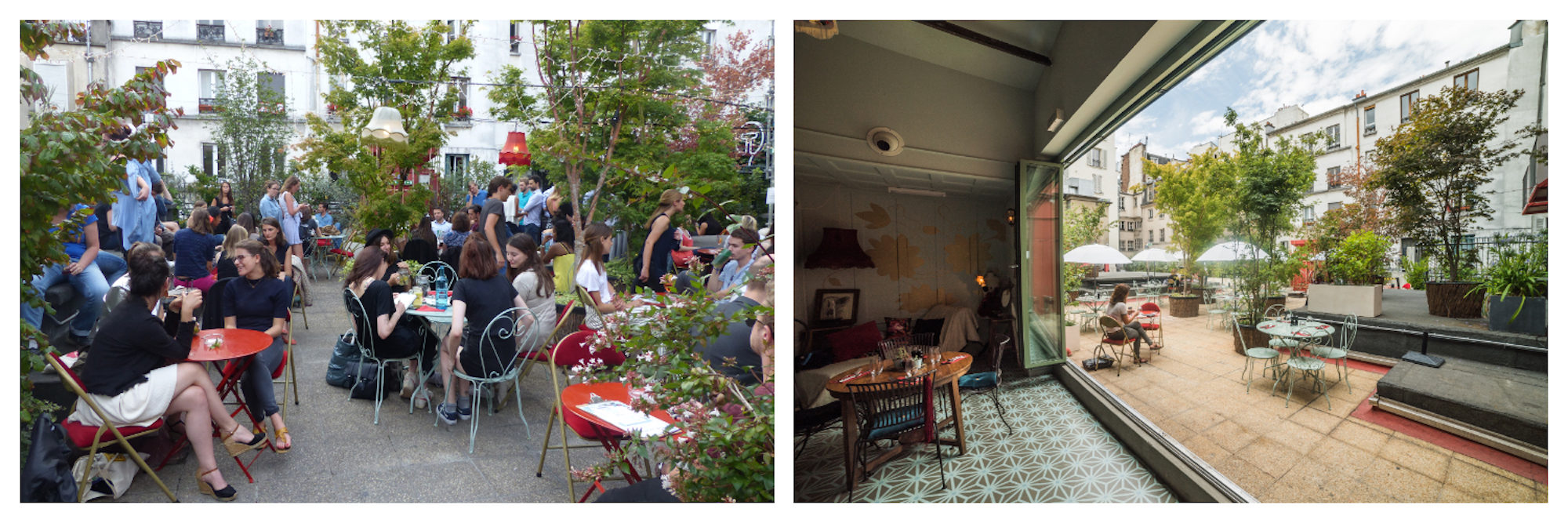 Locals having cocktails at the leafy Paris rooftop bar Le Bar à Bulles (left). Inside the shabby-chic Bar à Bulles, which leads out onto the terrace (right).