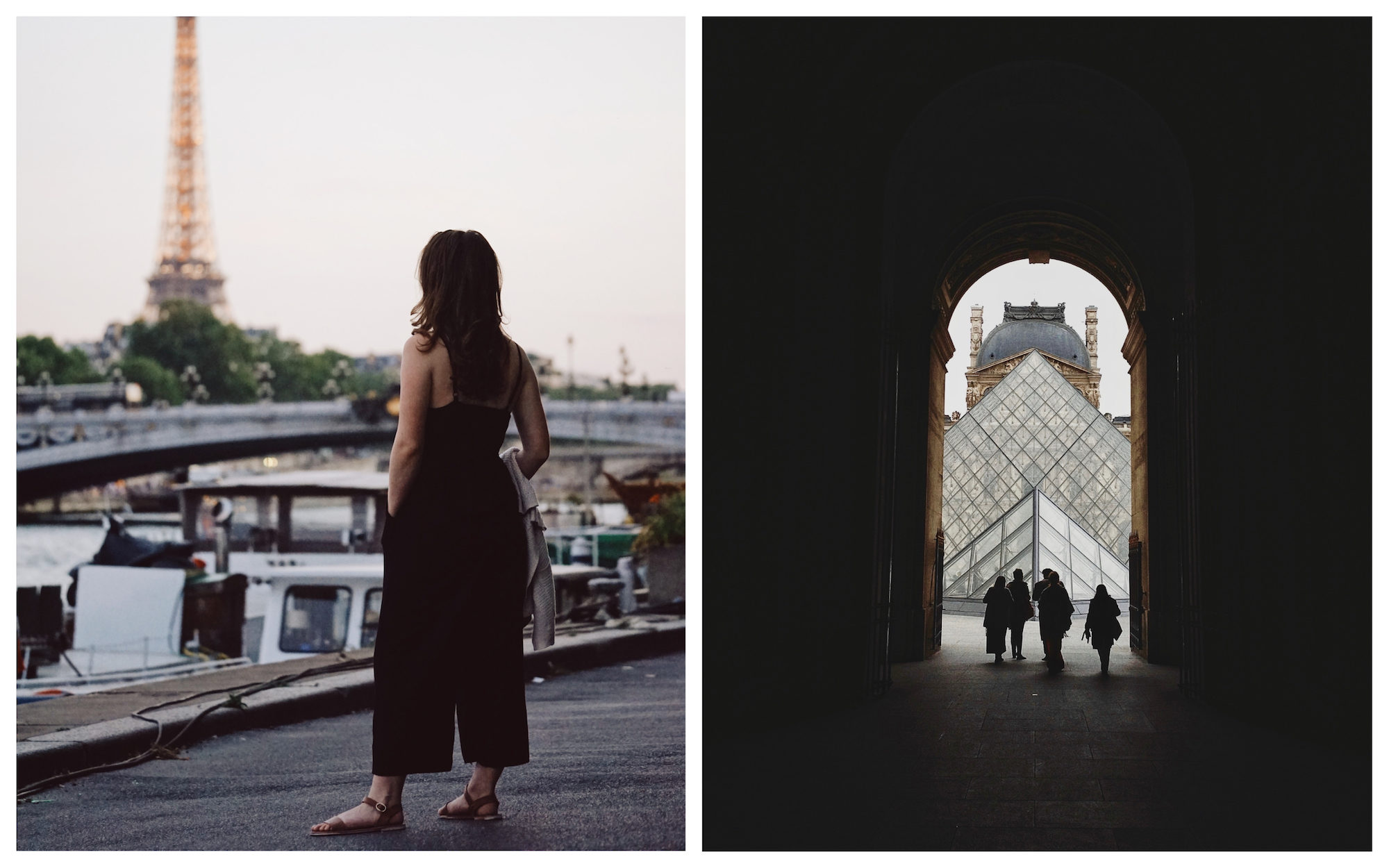 HiP Paris Blog explores seeing Paris like it's the first time, like this woman standing on the banks of the River Seine looking at the Eiffel Tower (left). The arched doorway leading to the Louvre's glass pyramid (right).