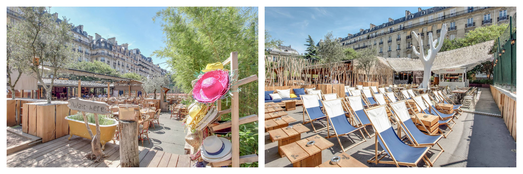 One of the best places to tan in Paris is Il Cottage with its timber tables and rattan chairs in the 16th district (left). Il Cottage also has plenty of deck chairs for topping up your tan in Paris this summer.