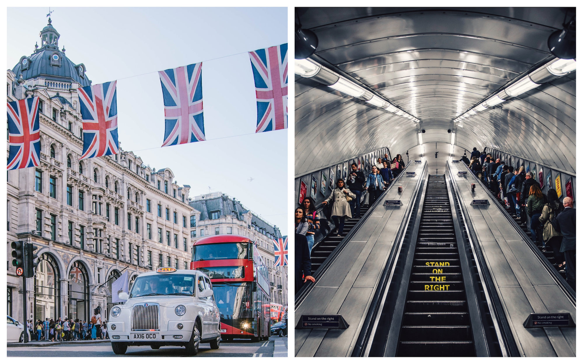 Paris vs London? The Union Jack flag flies high on Regent's Street with London cabs and red double-decker buses zipping passed (left). Rush-hour on the London Underground escalators (right).