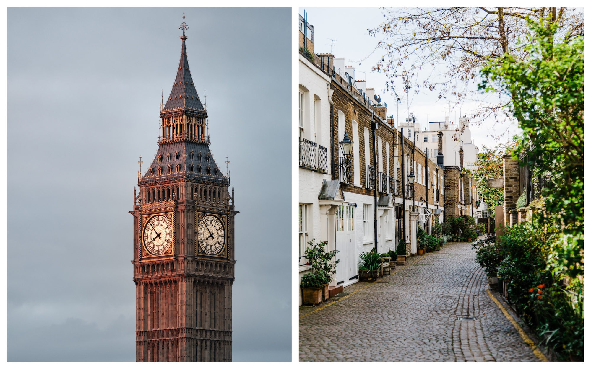 The top of the Big Ben in London (left). Charming cobblestone streets of London lined by terraced houses (right).