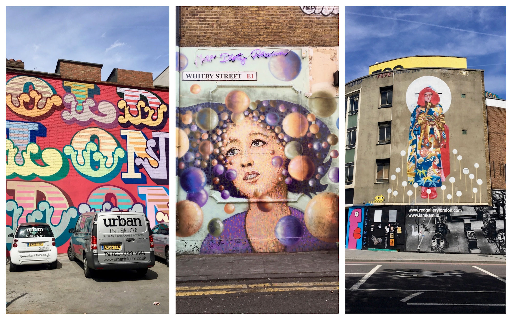 Big colorful streetart frescoes are scattered throughout London in a way that Paris still has to master.