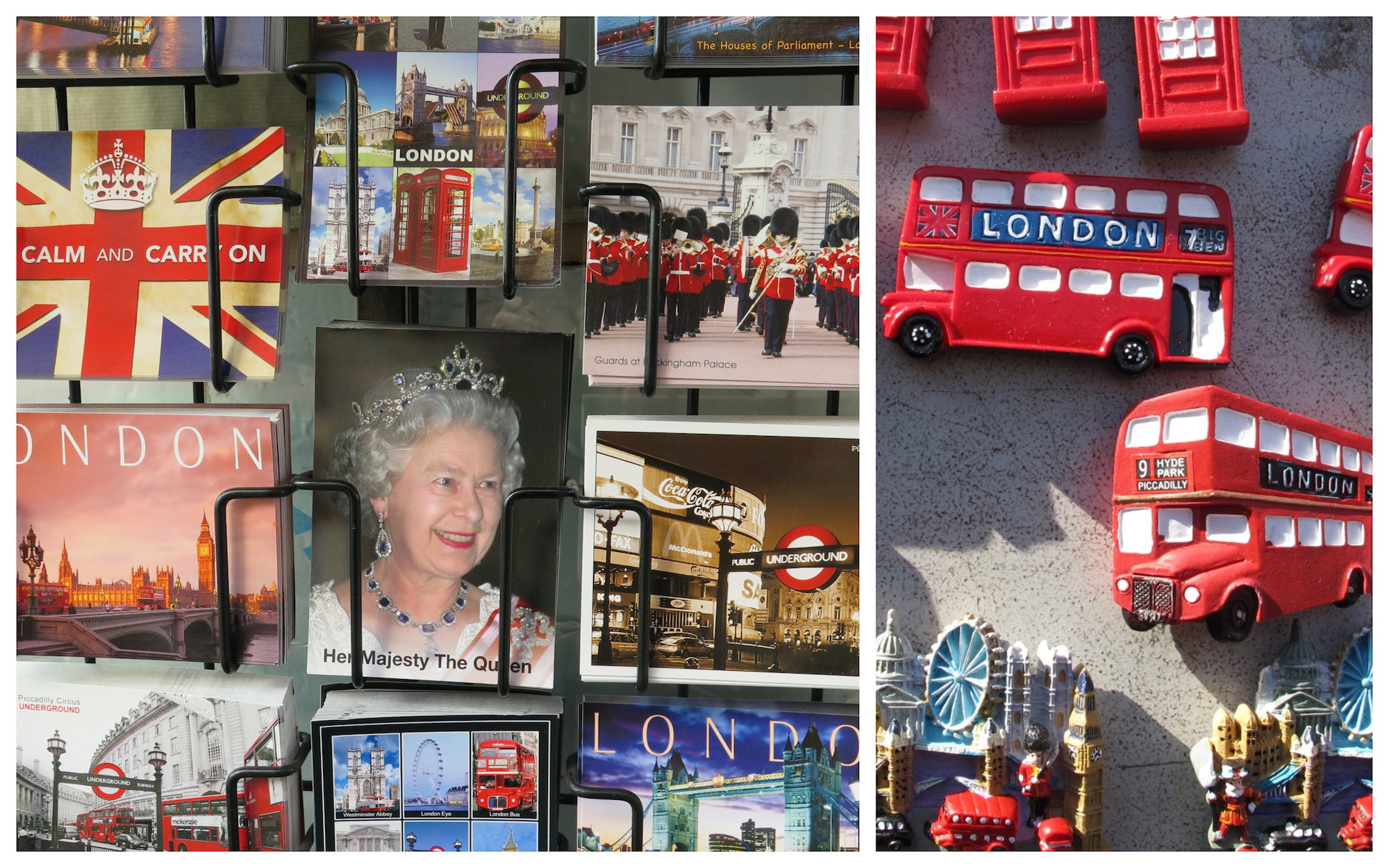 A London souvenir stall with postcards of the Royal Family and red double-decker bus magnets.
