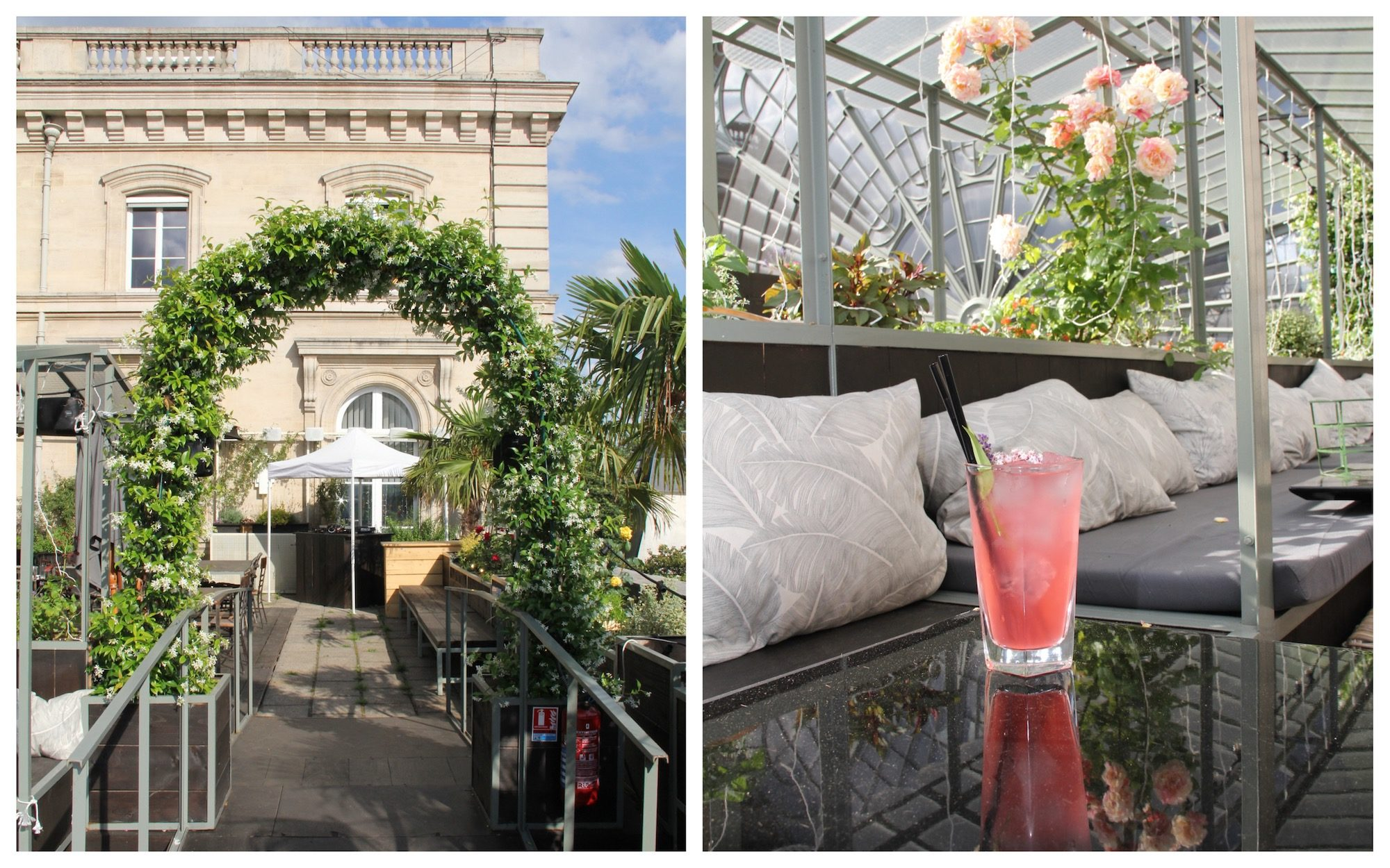 HiP Paris Blog rounds up Paris' best rooftop bars including Le Perchoir Gare de l'Est with its leafy arches (left) and shaded seating among rose bushes (right).