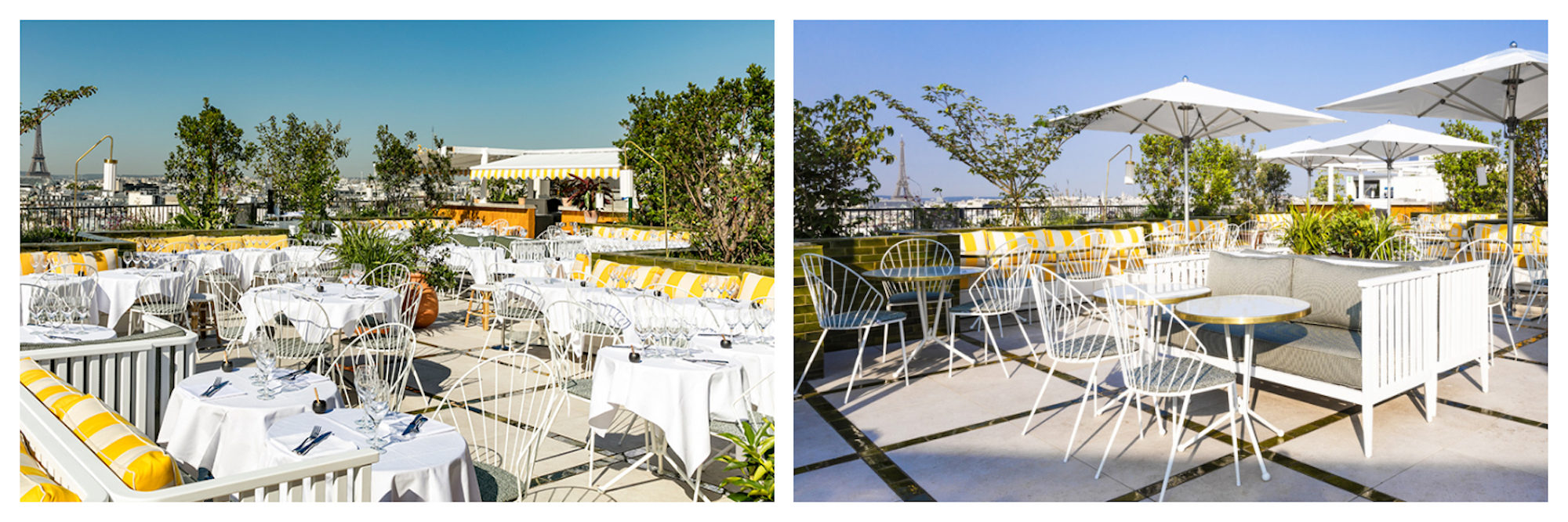 The chic Perruche rooftop bar in Paris with its beachy striped yellow and white banquettes, is set on top of the Printemps department store.
