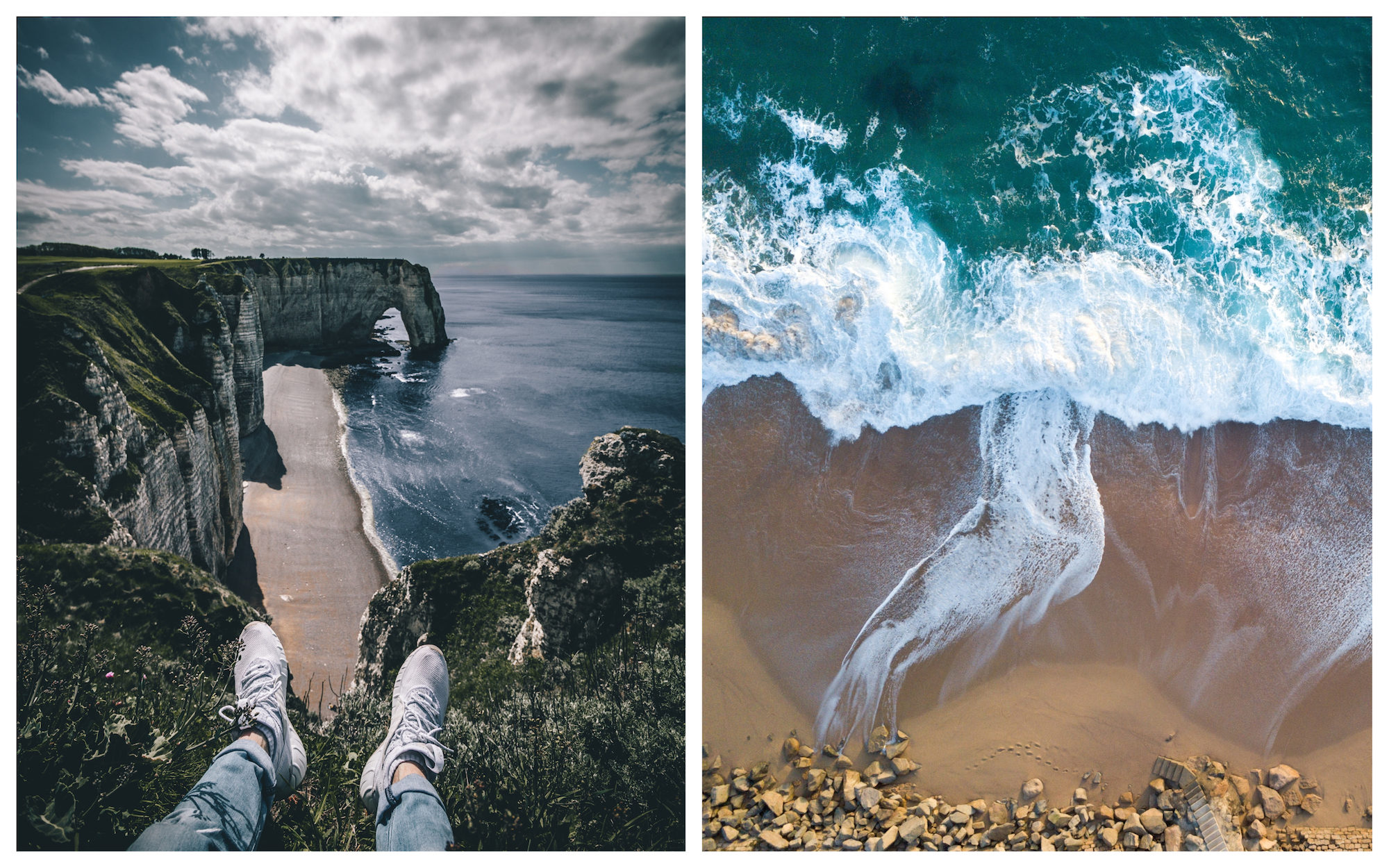Legs resting on top of a cliff, facing Etretat and its beach in Normandy, France, in summer (left). Looking down at a sandy beach and turquoise waters (right).