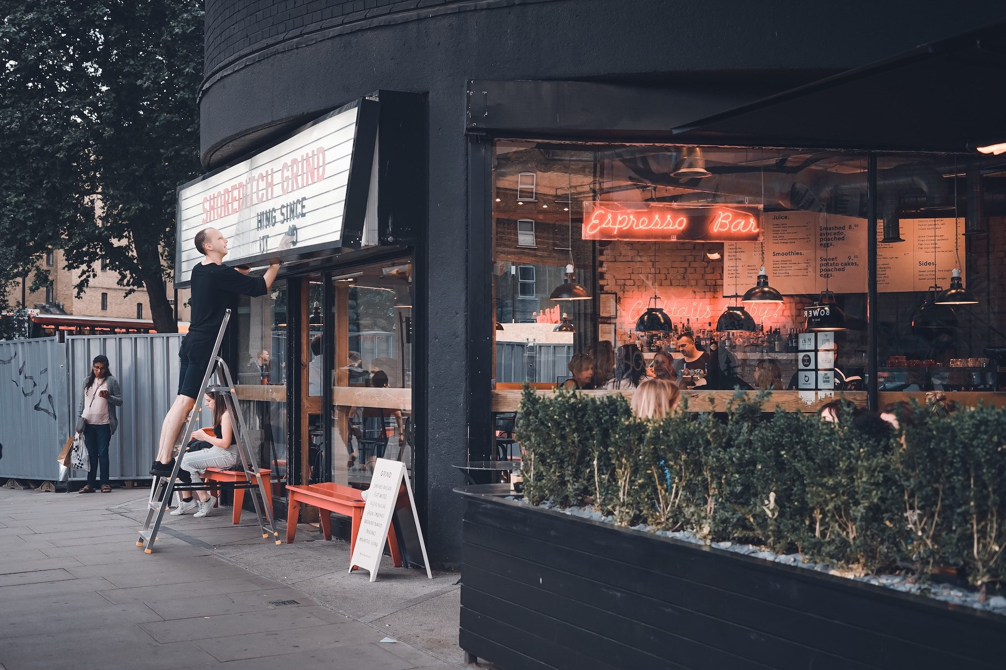 Kingdom of cool, Shoreditch is the place to go to see and be seen in its trendy restaurants like the Shoreditch Grind.