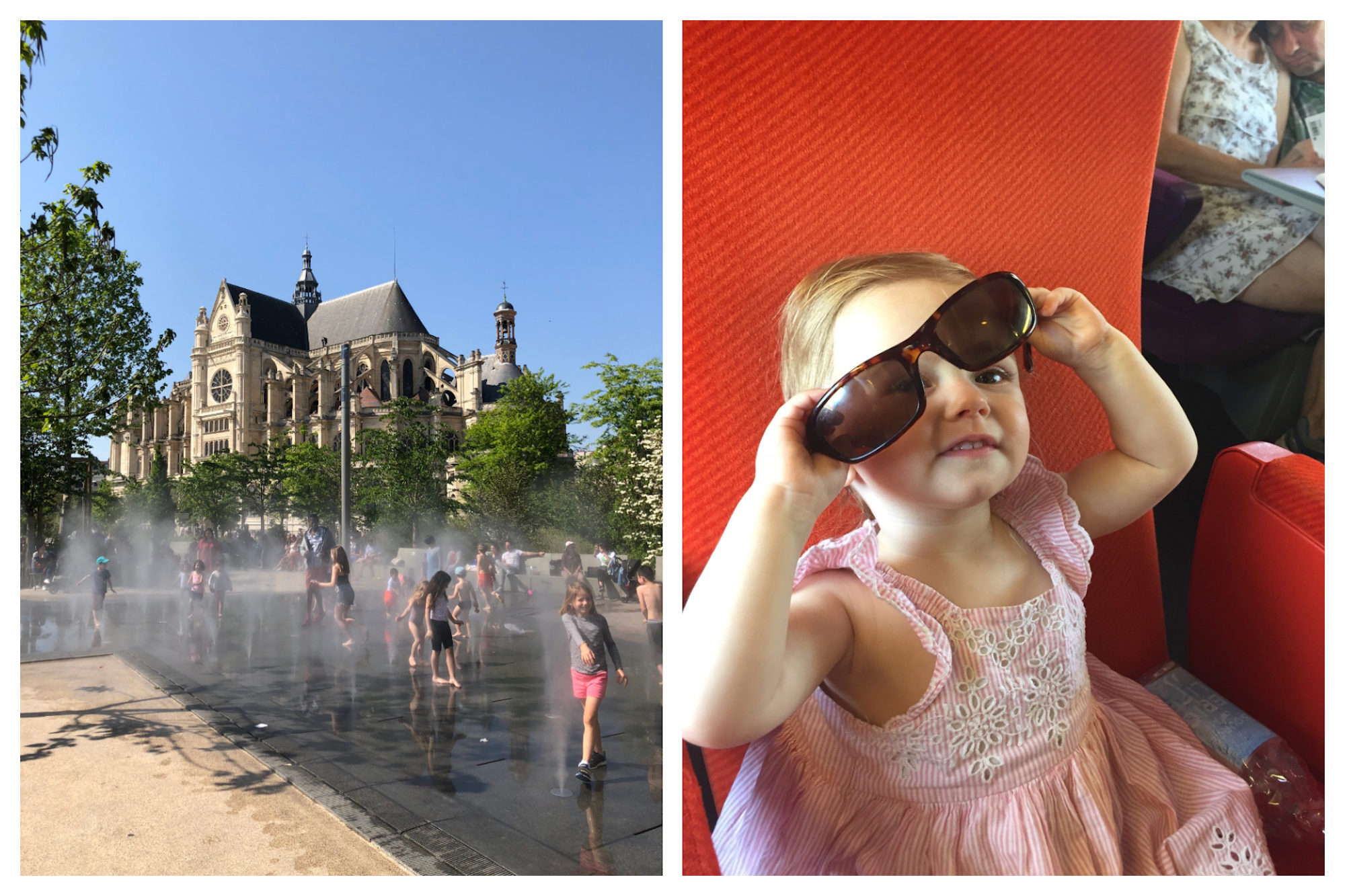 HiP Paris Blog explores what it's like traveling to Paris with babies, which is great fun thanks to the number of fountains to play in (left). A little girl in a pink dress, trying on her mommy's sunglasses (right).