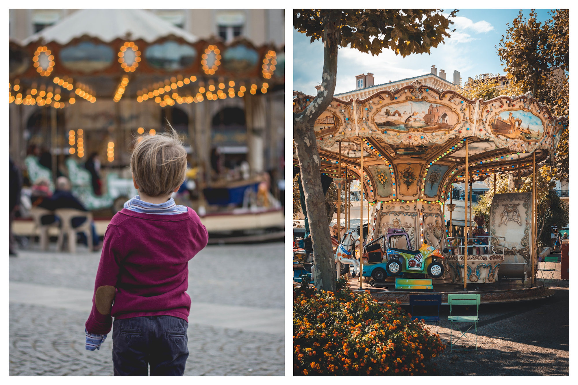 Traveling around Paris with kids includes taking them on one of the traditional merry-go-rounds all lit up, that are dotted around the city.