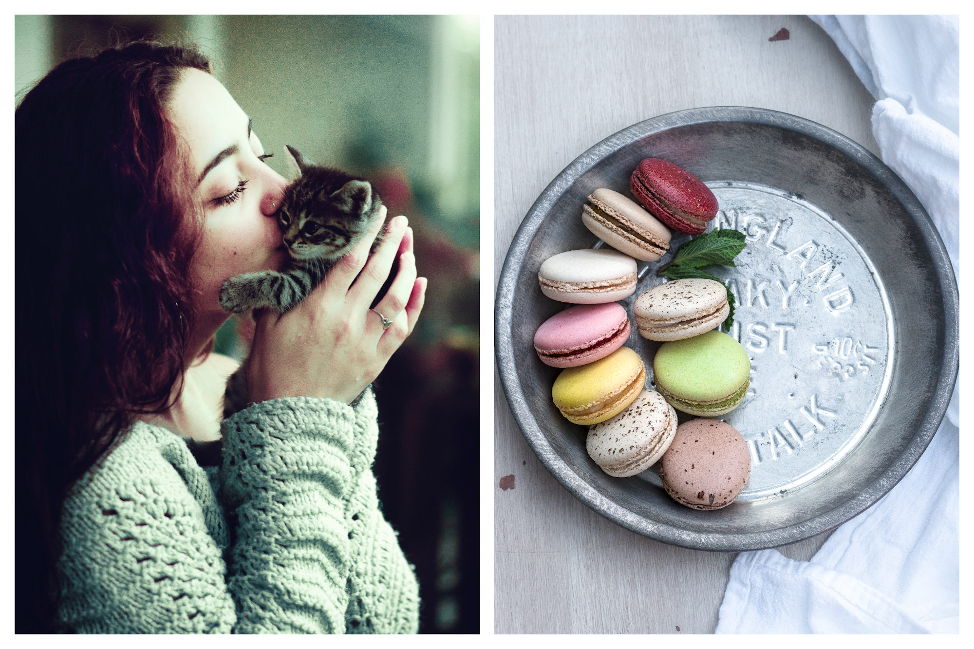 Kissing in France is very important, including kissing your cat (left). Doing the French bise should be as light as air or macarons, if you will (right).