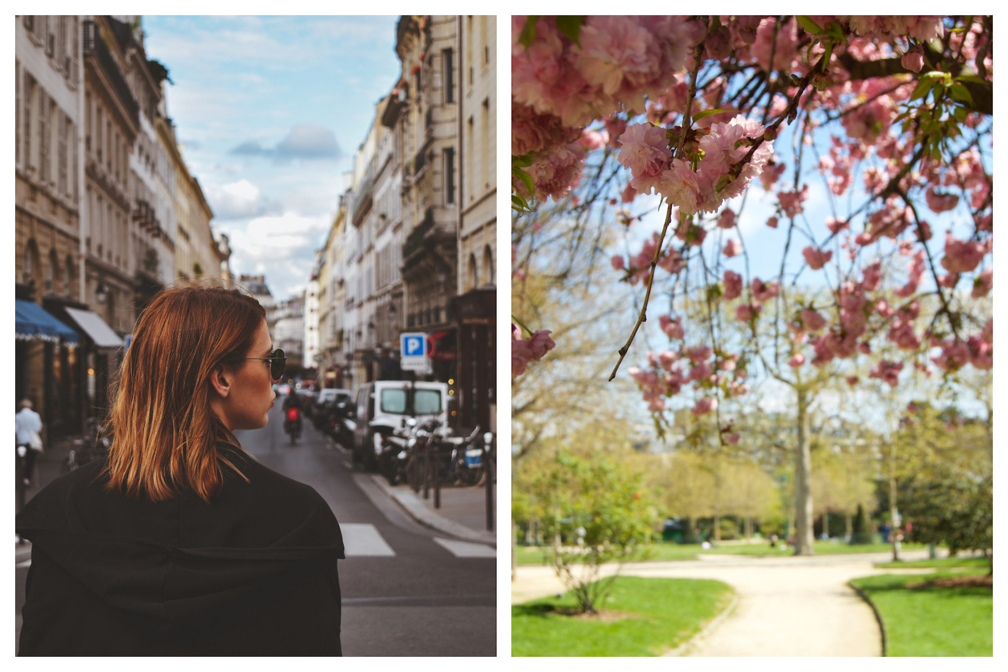 HiP Paris Blog uncovers the secret of the la bise. A blonde woman strolling in the streets of Paris (left). A sunny Paris park when the trees are in full bloom (right).