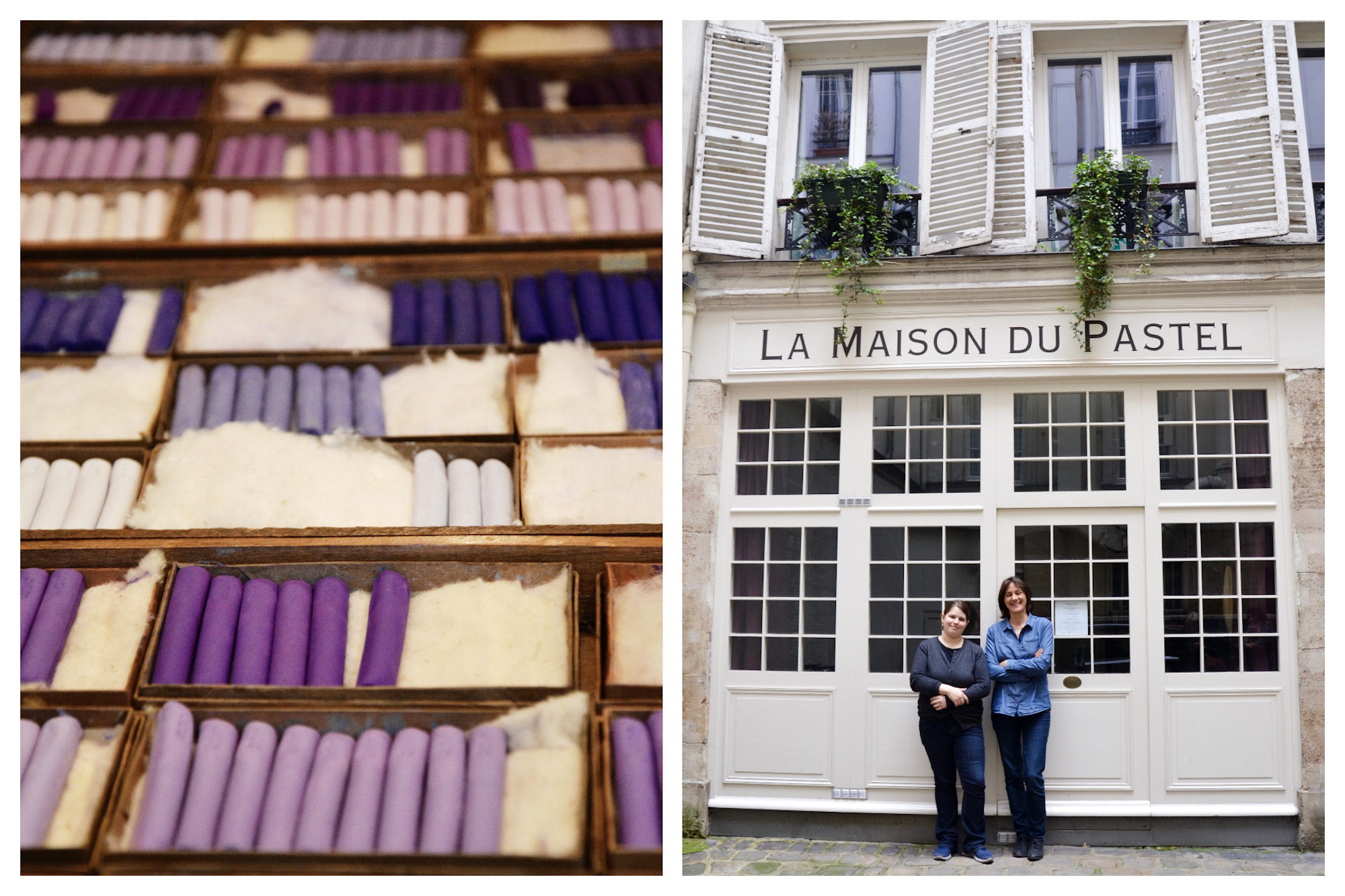 HiP Paris Blog explores the Maison du Pastel store in Paris that sells the most vibrantly colored pastels like these boxes of rich purples (left). Isabelle Roché and Margaret Zayer who run the Maison du Pastel and keep the Parisian landmark alive (right).